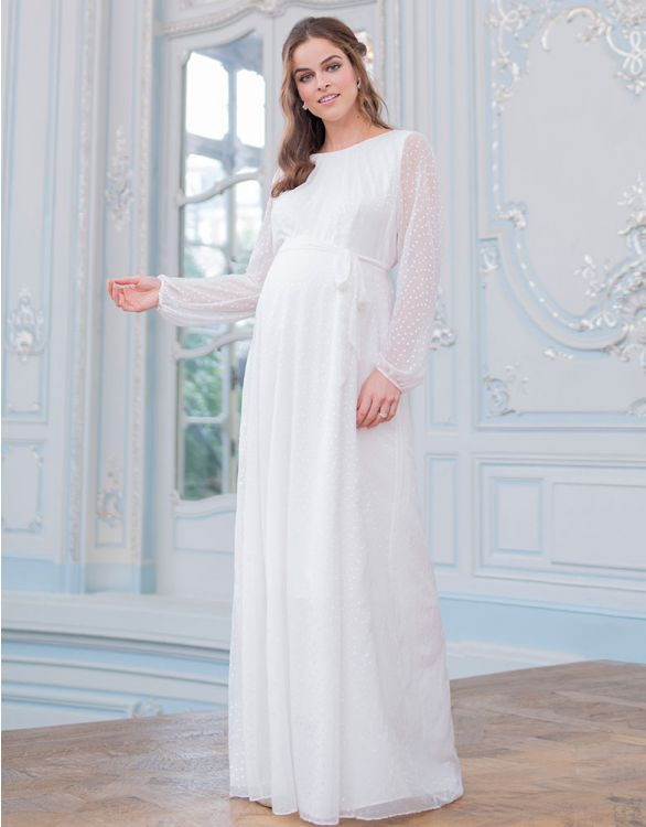 Image for Satin Devore Chiffon Maternity Wedding Dress