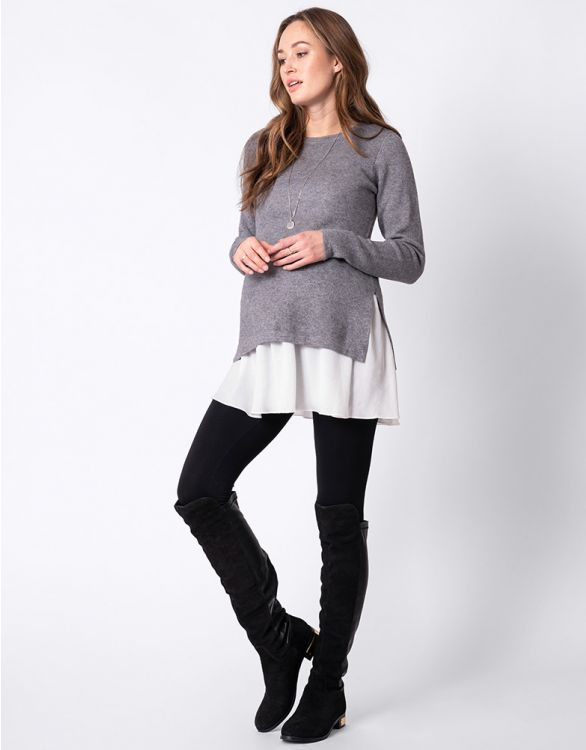 Image for Layered Knit Maternity & Nursing Tunic