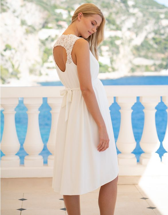 Image for Ivory High Low Midi Maternity Dress