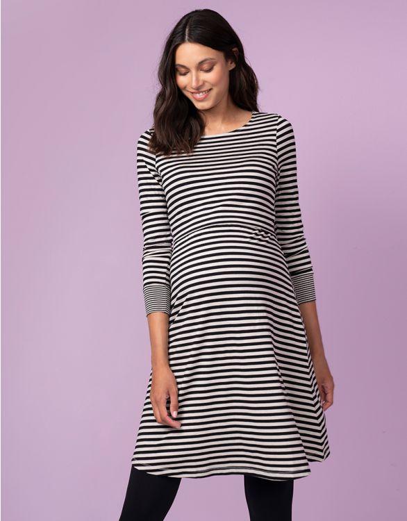 Image for Striped Bamboo Maternity & Nursing Dress
