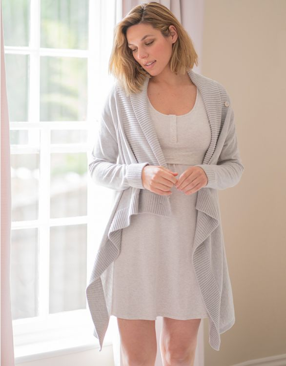 Image for Grey Cotton & Cashmere Waterfall Maternity Cardigan