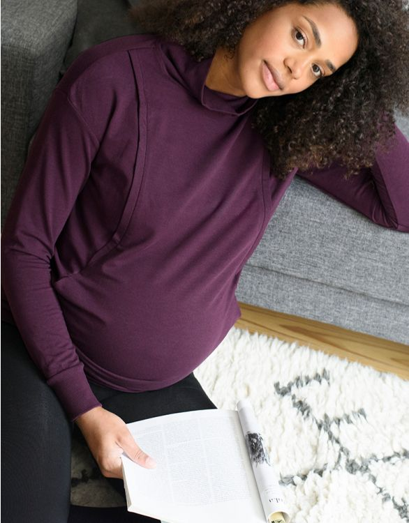 Image for Deep Plum Maternity & Nursing Sweatshirt