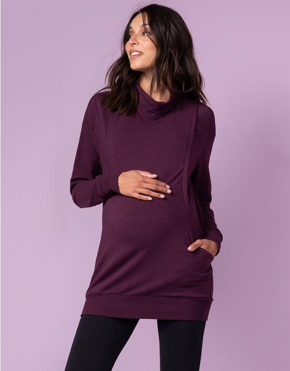 Image pour Sweat grossesse et allaitement en mélange de coton – Prune