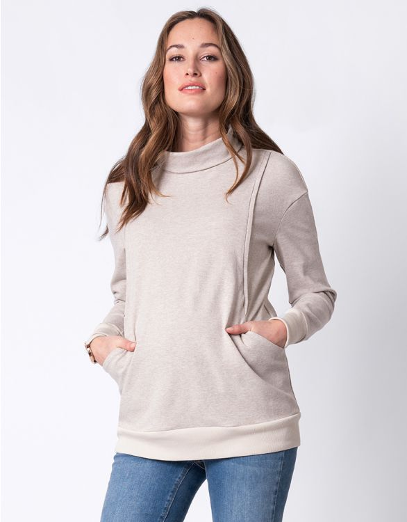 Image for Oatmeal Maternity & Nursing Sweatshirt