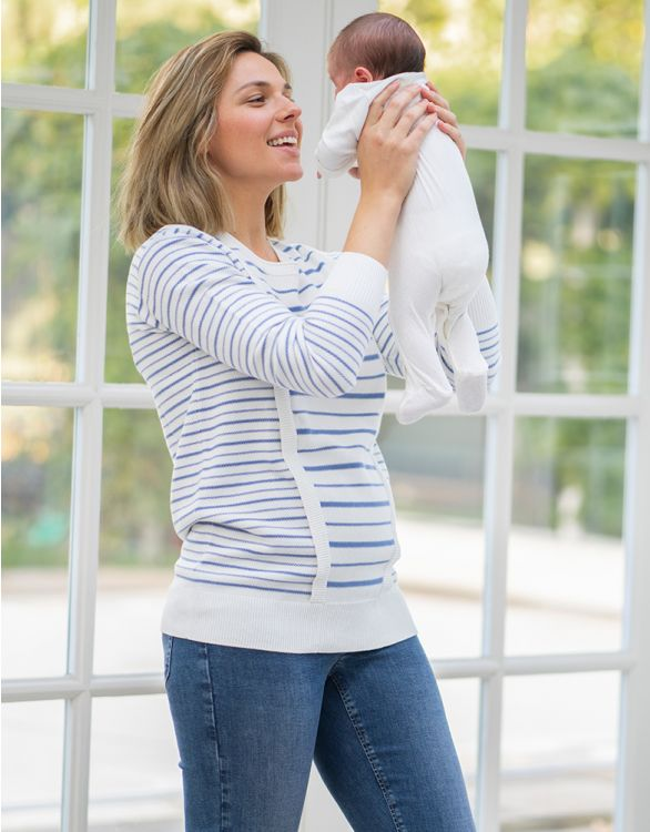 Image for Cotton Stripe Maternity & Nursing Jumper