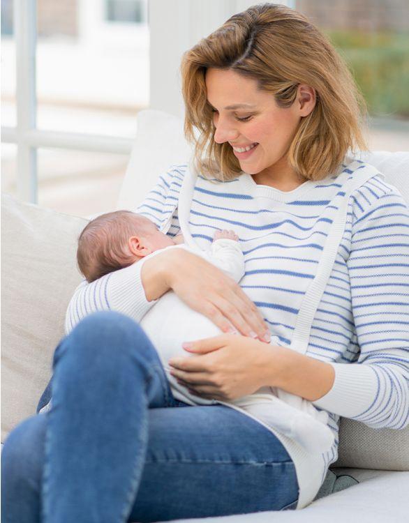 Image pour Pull grossesse et allaitement à rayures en coton