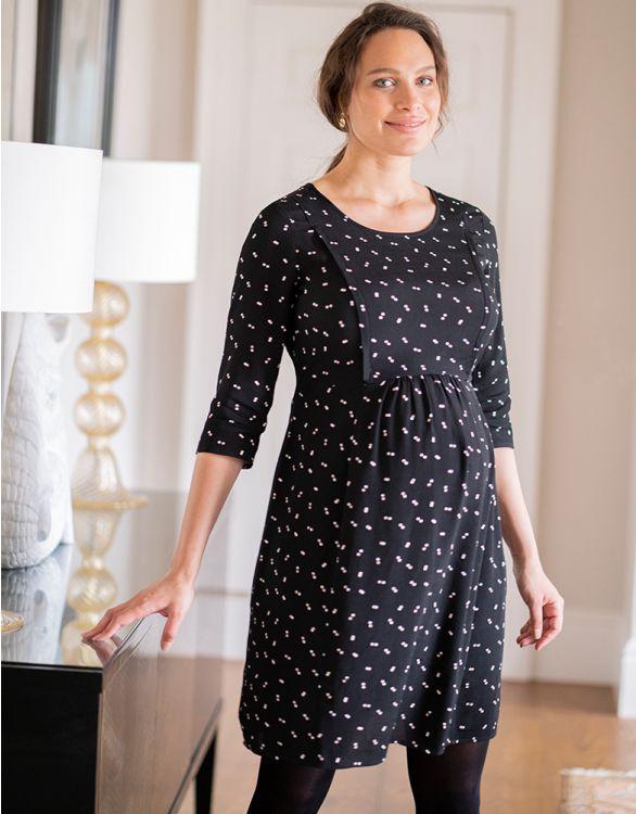 Image for Black Dot Maternity & Nursing Dress