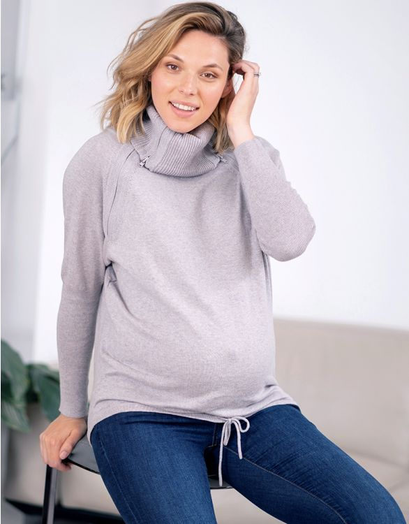 Image for Grey Marl Roll Neck Maternity & Nursing Jumper