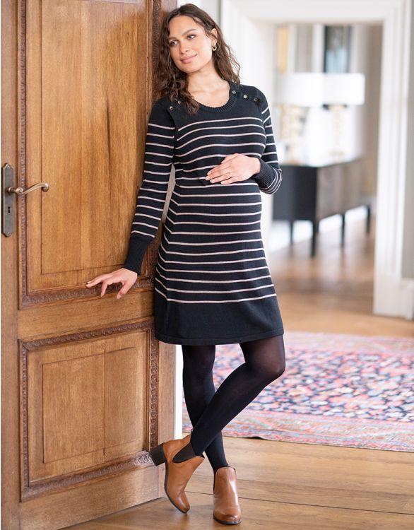 Image pour Robe pull grossesse et allaitement en coton – Noir/Beige