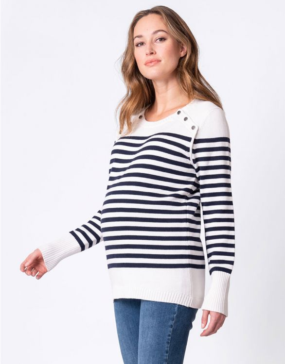 Image for Nautical Cotton Maternity & Nursing Jumper