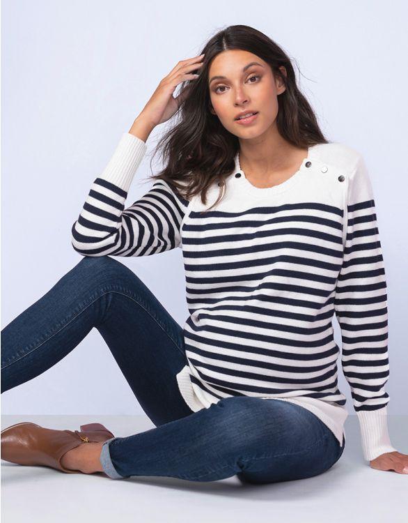 Image pour Pull grossesse et allaitement en coton – Motif marinière