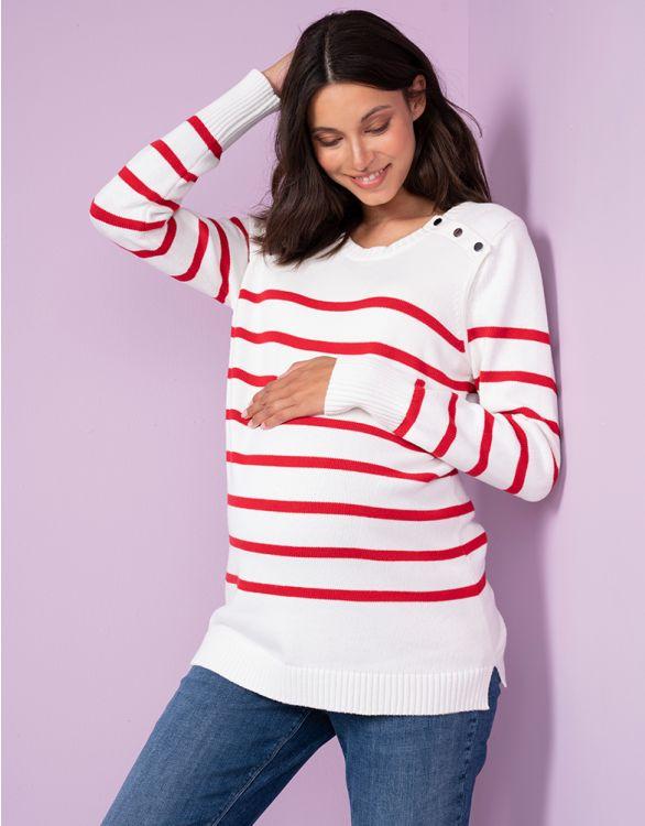 Image pour Red & White Striped Cotton Maternity & Nursing Jumper
