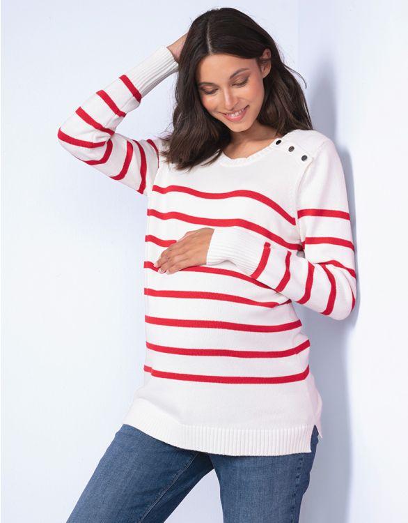 Image pour Pull marinière grossesse et allaitement en coton – Rouge/Blanc