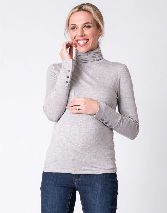 Image for Grey Bamboo Maternity & Nursing Roll Neck