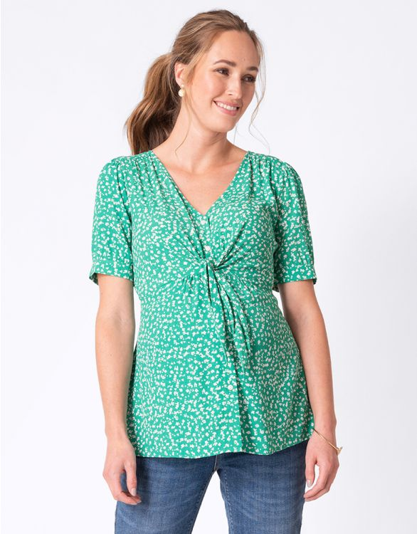 Image for Green Floral Tie Front Maternity Top