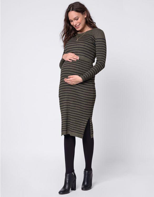 Image pour Robe grossesse et allaitement en maille côtelée midi – Kaki