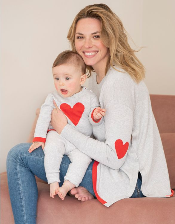 Image pour Pulls Mama et Mini en coton – Motif cœur rouge