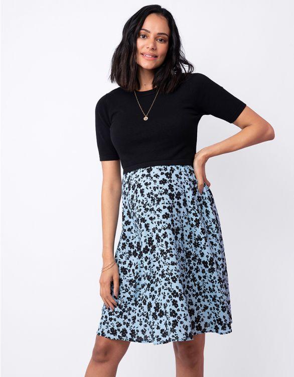 Image for Blue Floral Knit Top Maternity & Nursing Dress