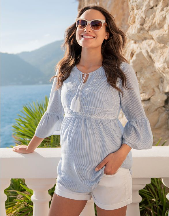 Image for Embroidered Pinstripe Maternity & Nursing Blouse