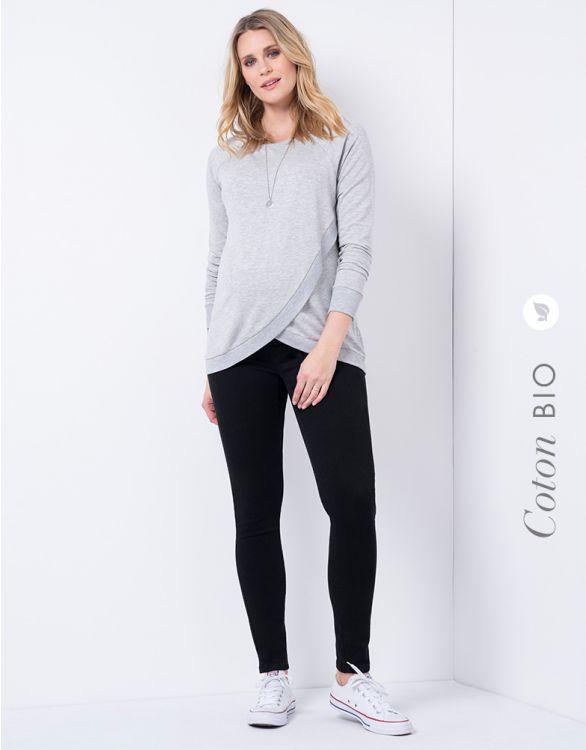 Image pour Jean grossesse en coton bio bandeau haut - Noir