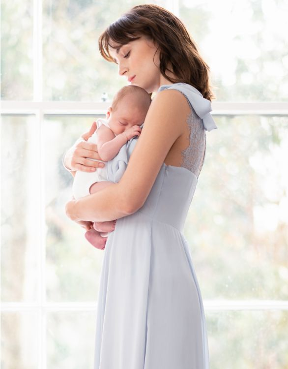 Image for Sky Blue Maternity & Nursing Dress with Neckline Tie