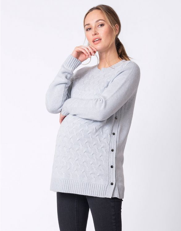 Image for Ice Blue Textured Maternity & Nursing Jumper