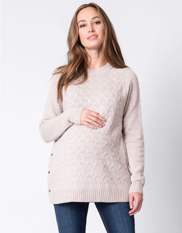 Image for Oatmeal Textured Maternity & Nursing Jumper