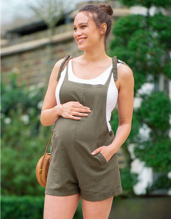 Image for Linen Maternity Overalls
