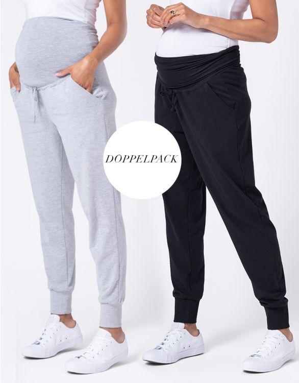 Bild für Umstandsjogginghosen – Doppelpack Schwarz & Grau