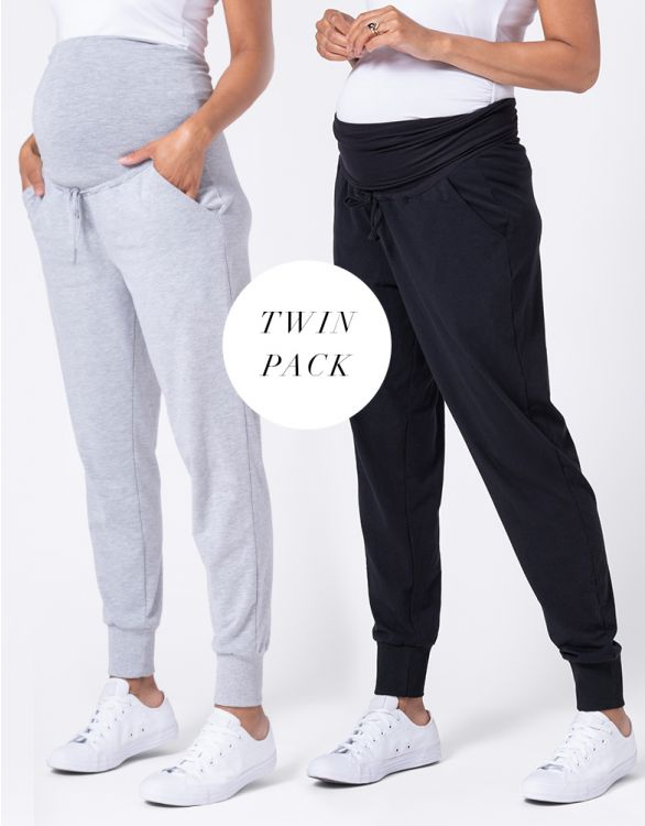 Image for Maternity Joggers – Grey & Black Twin Pack