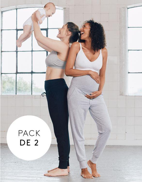 Imagen de Pantalones premamá de chandal - Pack de 2 Gris & Negro