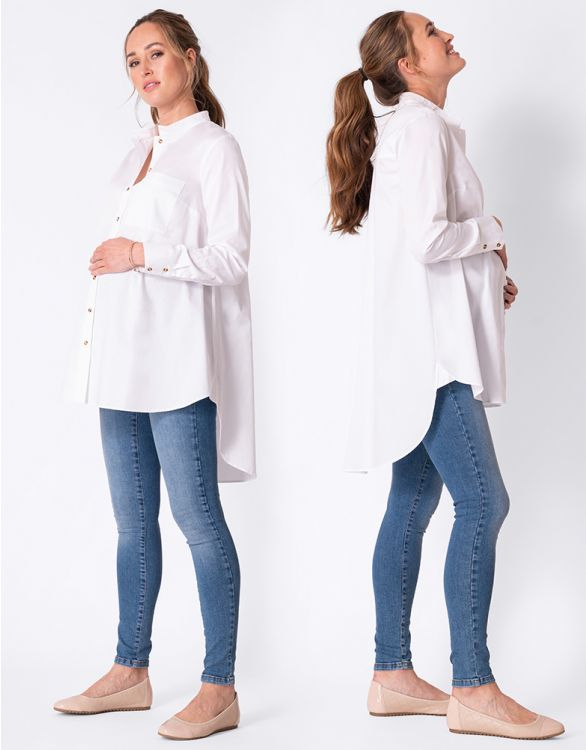 Image for High-Low Hem White Cotton Maternity Shirt