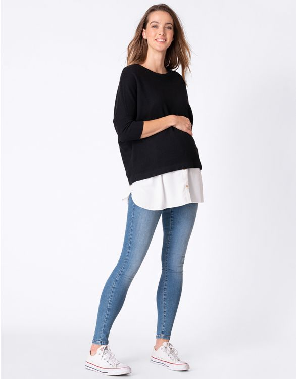 Image for Black Cotton Blend Maternity & Nursing Jumper