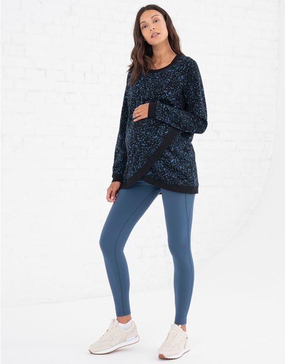 Image pour Sweat grossesse et allaitement en coton – Noir/Bleu