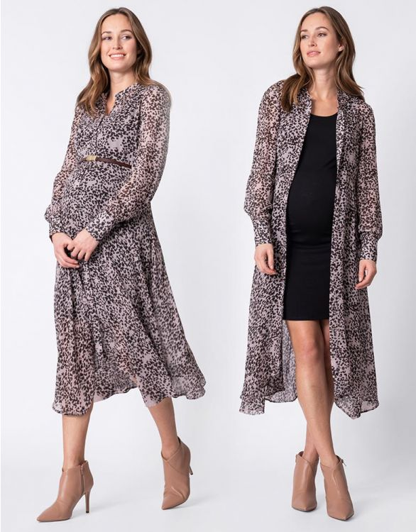Image for Animal Print Midi Maternity Dress