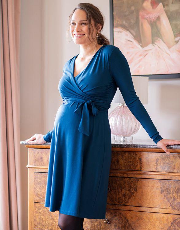 Image pour Robe grossesse et allaitement – Bleu paon