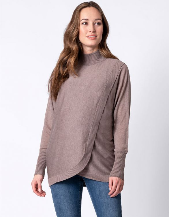 Image for Wool Blend Crossover Maternity & Nursing Jumper