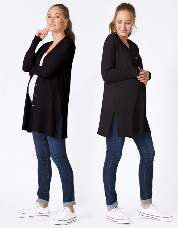 Image for Long-Line Black Maternity Cardigan