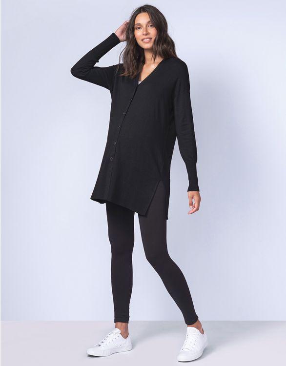 Image pour Cardigan grossesse en maille côtelée – Noir