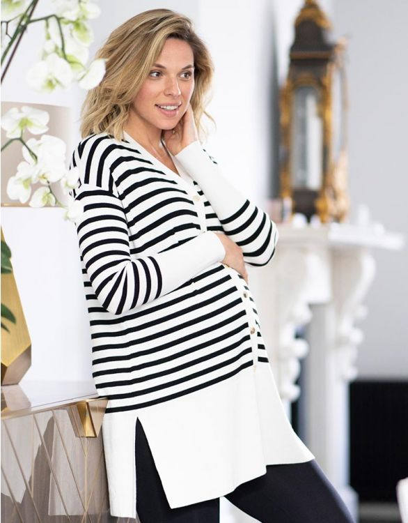 Image for Long-Line Striped Maternity Cardigan