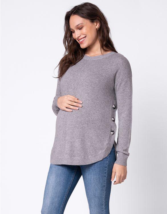 Image pour Pull grossesse et allaitement en laine mélangée – Gris