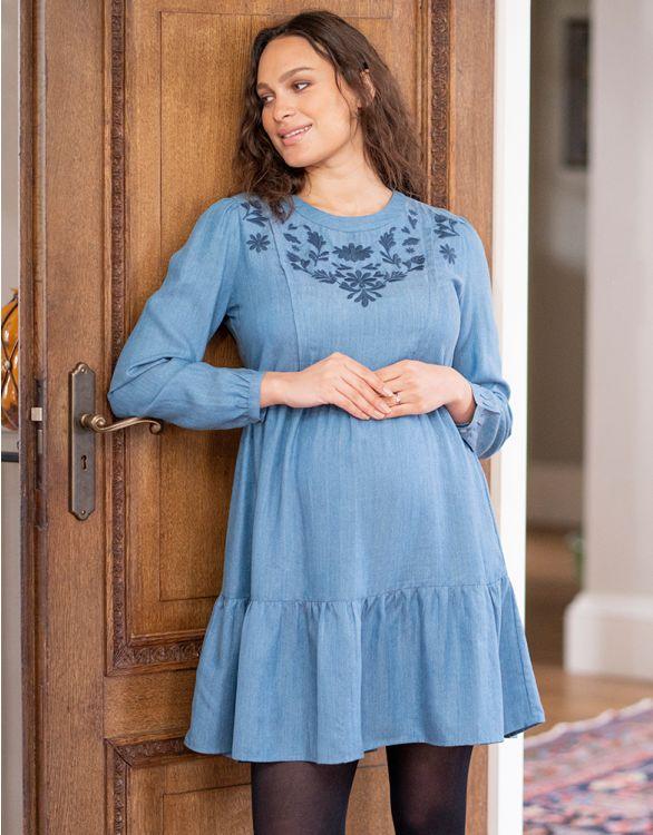 Image pour Robe grossesse et allaitement brodé en Tencel