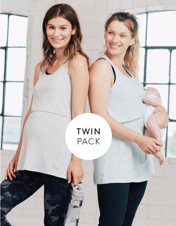 Image for Eco-Dyed Modal Racerback Nursing Tops – Twin Pack