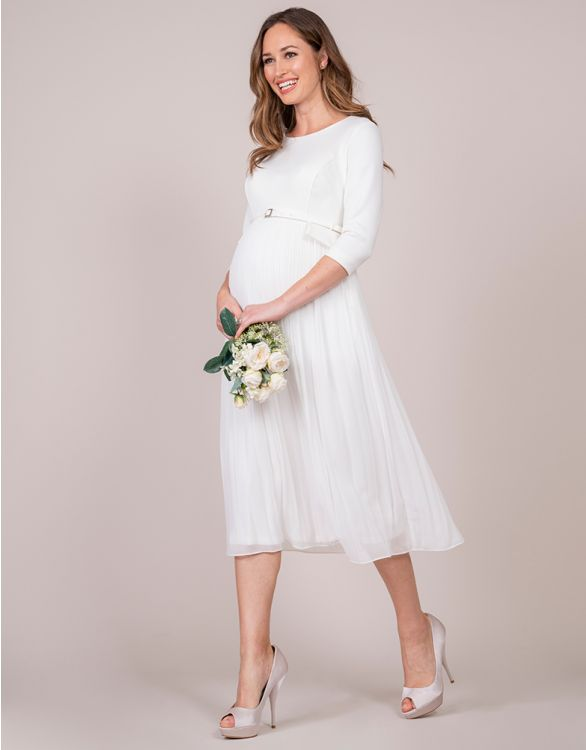 Image for Ivory Pleated Maternity Midi Dress