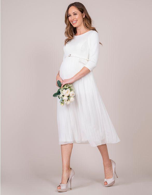 Image pour Robe grossesse jupe plissée – Ivoire