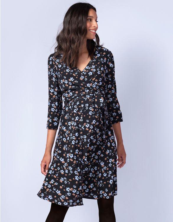 Image for Black Floral Maternity & Nursing Dress