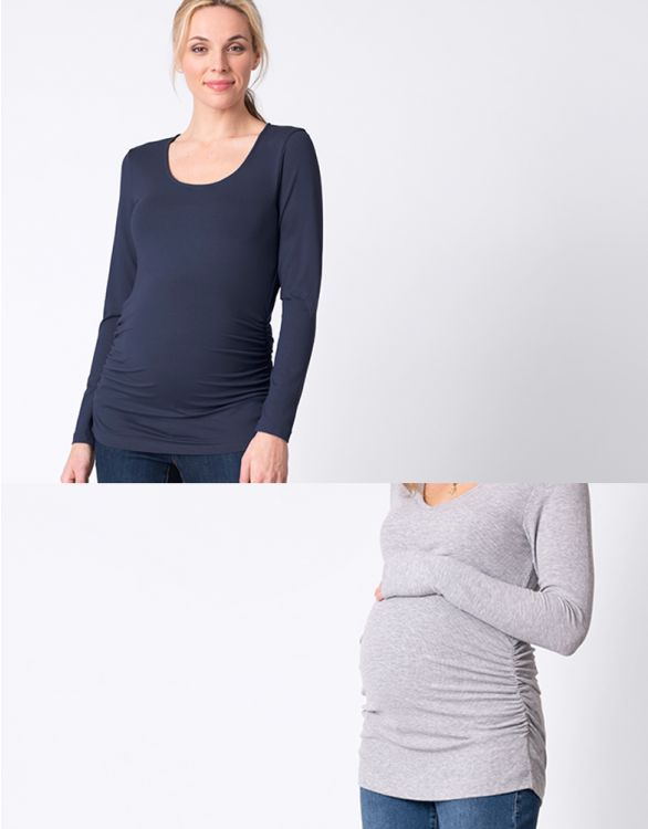 Image for Basic Maternity Tops – Navy & Grey Twin Pack