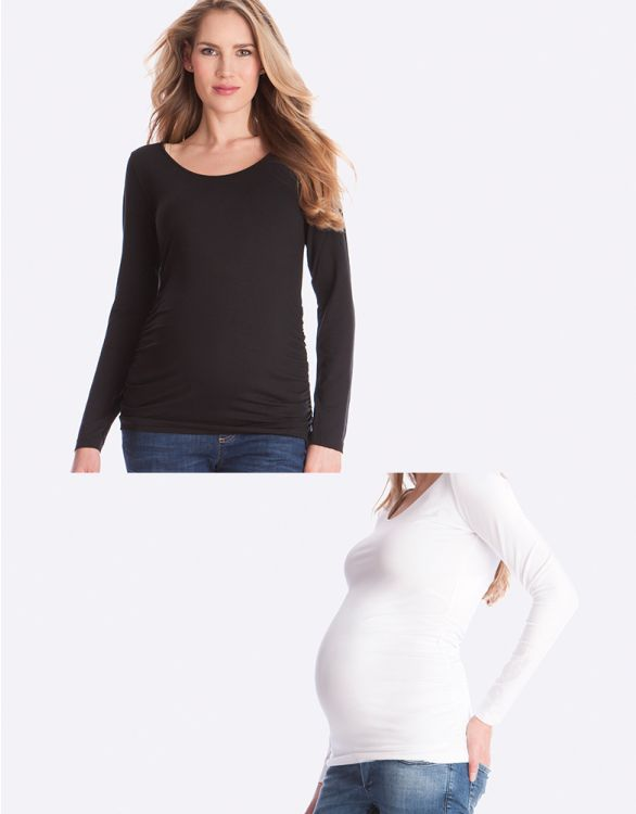 Image for Basic Maternity Tops – Black & White Twin Pack