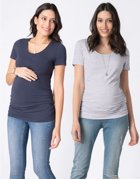 Image pour Lot de 2 t-shirts basiques grossesse et allaitement – Gris/Bleu marine