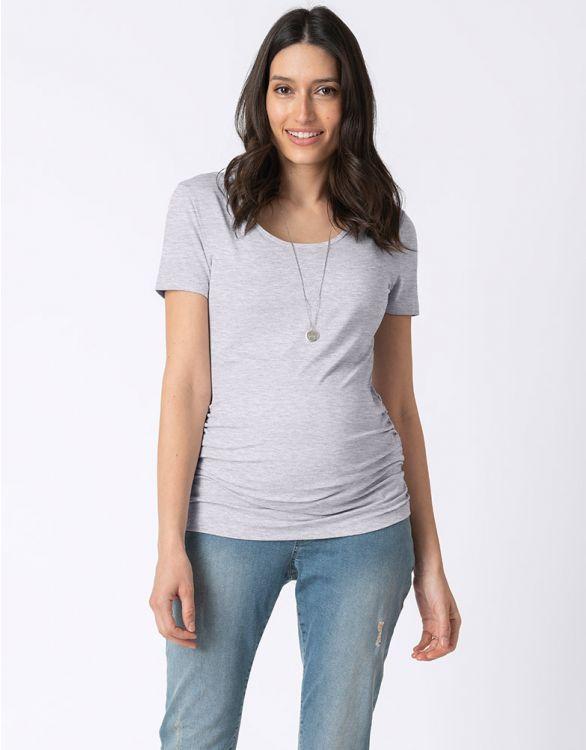 Image pour T-shirt décolleté rond grossesse – Gris